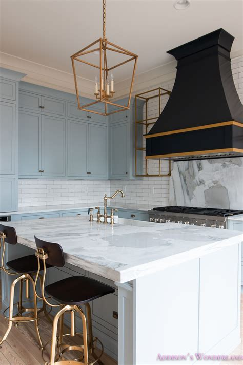 a classic vintage modern kitchen blue gray cabinets inset