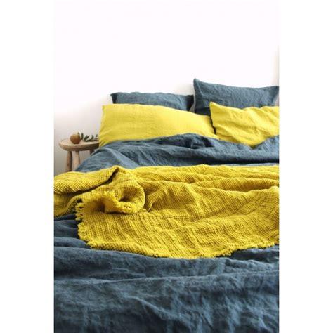 plaid en lave washed citrine 160x200cm