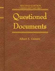 Click to view a larger cover image of quotquestioned for Albert s osborn questioned documents