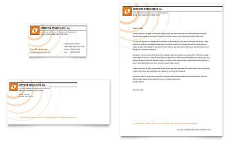 computer consulting business card letterhead template design