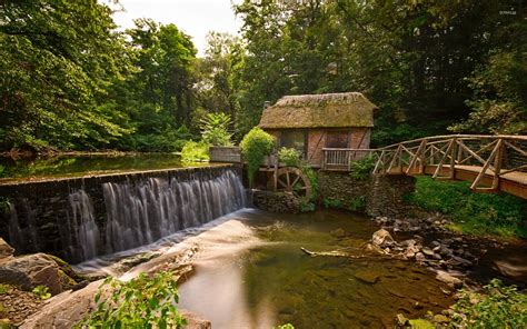 Animated River Wallpaper - forest watermill wallpaper rivers nature 32 wallpapers