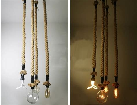 Kiven Rope Pendant Light Chandelier Manila Hemp Rope Swag