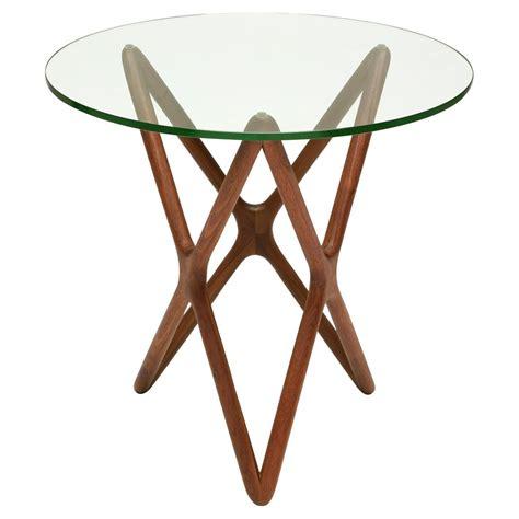 Wood base glass top coffee table. Centauri Mid Century Glass Top Wood Mid Century Base Side Table