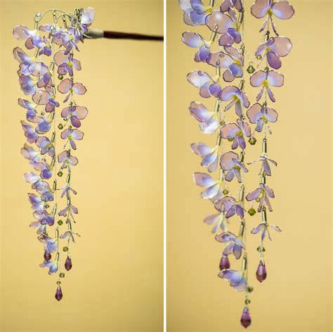 japanese floral hair ornaments handcrafted  resin