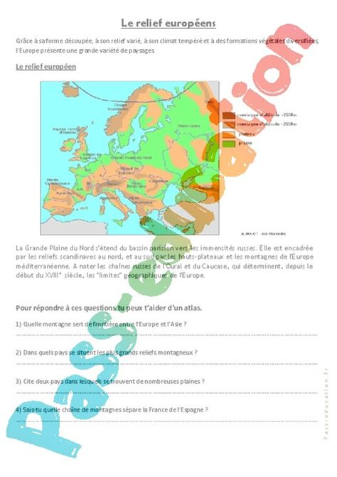 Carte Montagne Cycle 3 by Relief Et Paysages D Europe Cm1 Cm2 Exercices