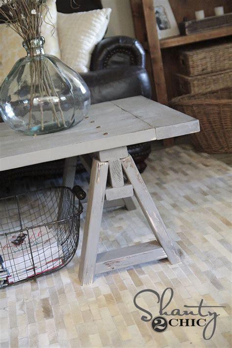 shanty 2 chic coffee table diy sawhorse coffee table shanty 2 chic