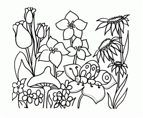 black  white drawing  garden coloring page children