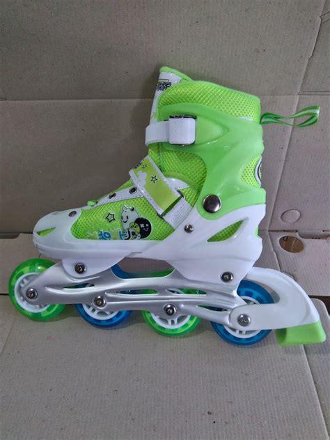 jual ongkir gratis sepatu roda warna hijau bonus tas di