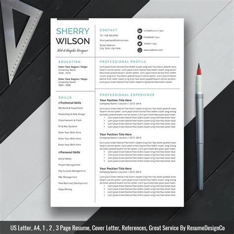modern cover letter modern resume template cv template cover letter 23677   www.ResumeDesignCo.com The SHERRY Resume One Page Resume