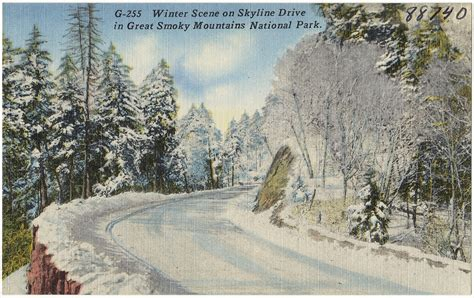Winter scene on Skyline Drive in Great Smoky Mountains Nat ...