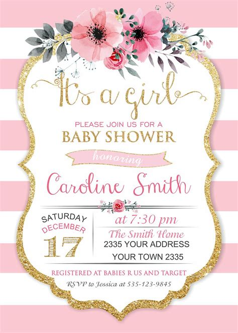 Es una niña bebé ducha invitaciones Invitaciones para