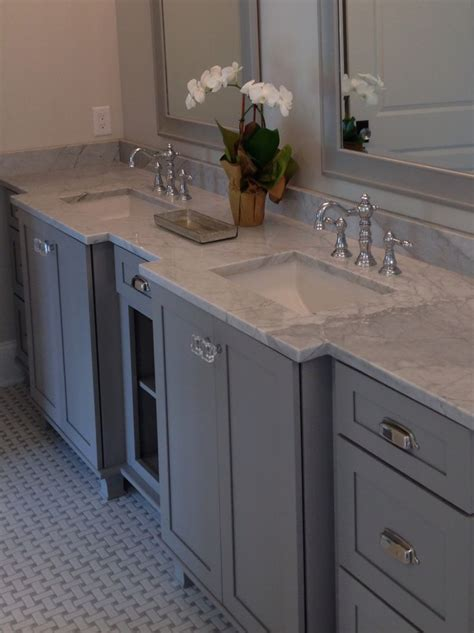 Kraftmaid Bathroom Cabinets Catalog by Kraftmaid Pebble Gray Carrara Marble Master Bath And