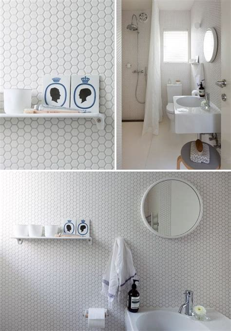 white hexagon bathroom tile ideas  pictures