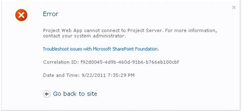 gene s project web app cannot connect to project server
