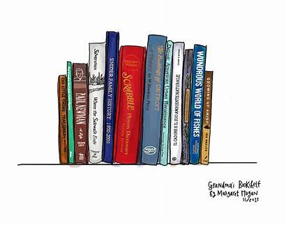 Bookshelf Drawing Grandma Books Razblint Bookcase Grandmas