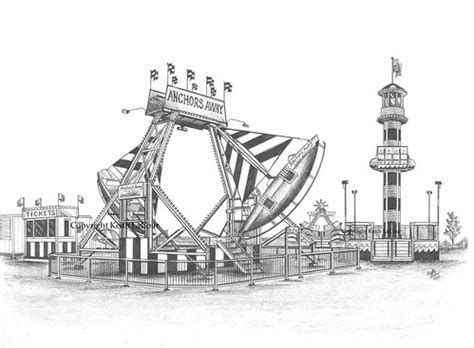anchors  swinging ships carnival ride pencil drawing