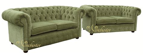 green settee chesterfield 2 2 seater sofa settee green fabric