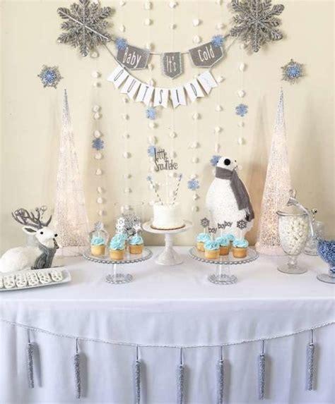 silver  white snowy baby shower baby shower ideas