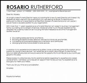 funeral director cover letter sample livecareer With cover letter for funeral assistant