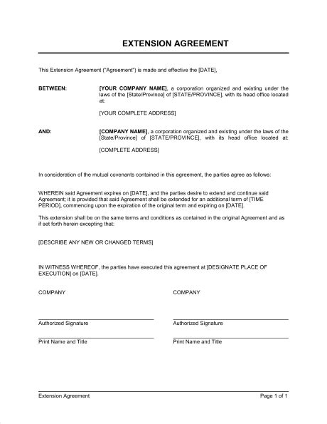 Extension of Agreement Template – Word & PDF | By Business-in-a-Box