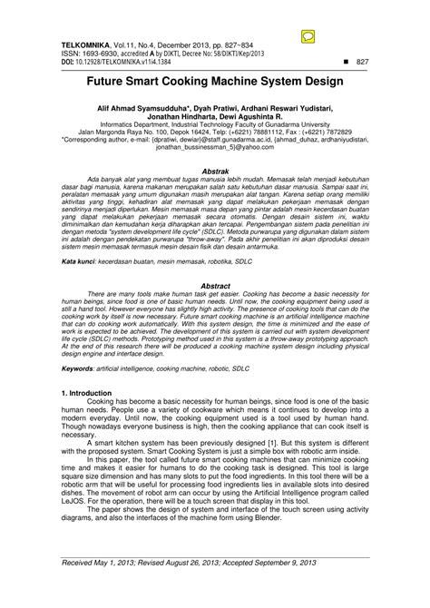 (PDF) Future Smart Cooking Machine System Design