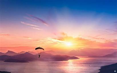 4k Scene Parasailing Wallpapers Sunset Nature Desktop