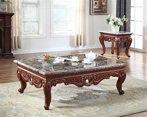 bordeaux 205 coffee table in cherry w marble top With granite coffee table and end tables