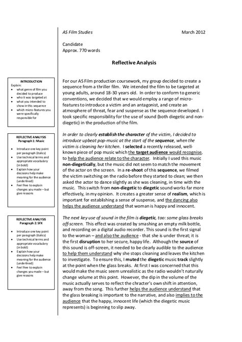film studies reflective analysis guidance booklet