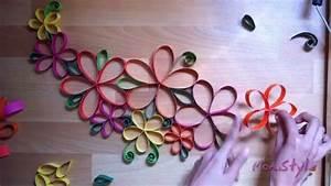 DIY GUIA CON FLORES DE PAPEL - WALL DECOR PAPER FLOWERS ...
