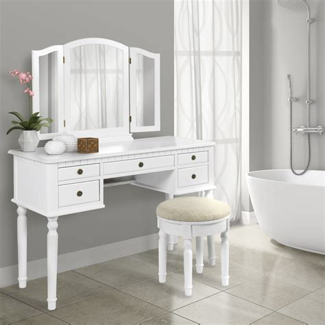 Makeup Vanity Table With Mirror And Bench - best choice products tri mirror vanity set makeup table