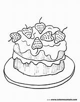 Coloring Cake Strawberry Pages Drawing Printable Desert Para Colouring Cakes Simple Birthday Sheet Colorear Line Strawberries Getdrawings Cream Shortcake Ice sketch template