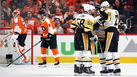 nhl playoffs  penguins score    seconds tie