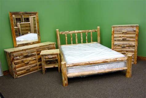rustic pine queen log bedroom suite  pc set