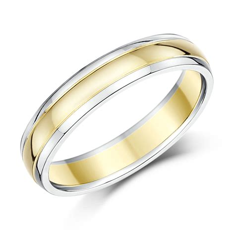 9ct two colour gold court shape wedding ring band 9ct 2