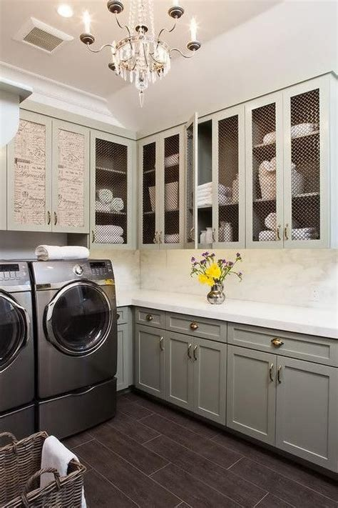 laundry rooms gray cabinets  paris flea markets