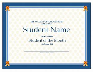 certificate for student of the month free certificate With student certificate templates for word