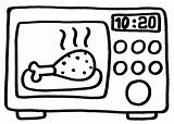 Microwave Coloring Oven Template Children sketch template