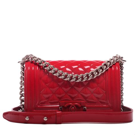 chanel red quilted patent small boy bag worlds