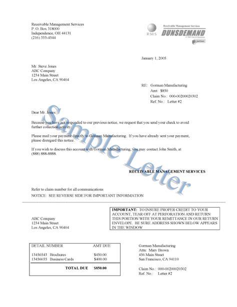 dunsdemand sample letters db debt collection