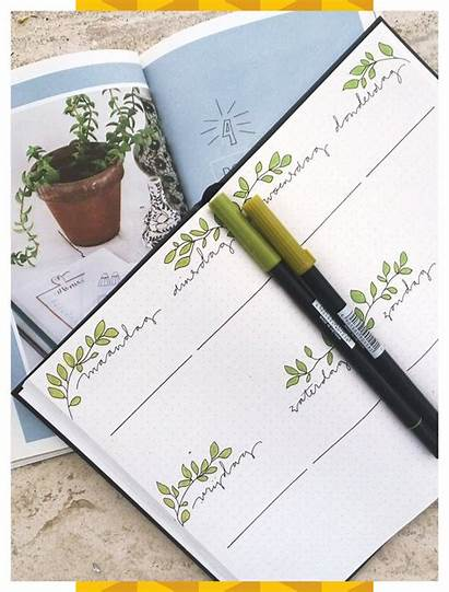 Spread Notebook Weekly Journal Plant Bullet Stone