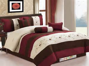 7 pc floral scroll embroidery pleated comforter set burgundy brown beige king ebay