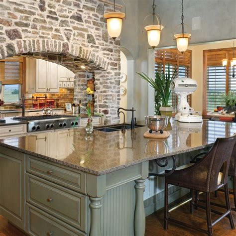 rustic kitchen with brick arch and sided stove