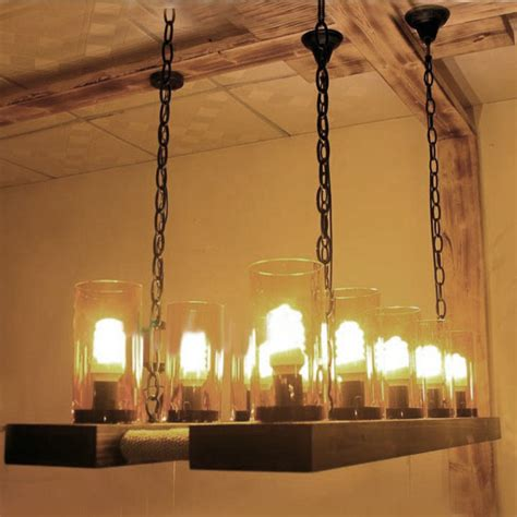 farmhouse chandelier lighting antique country wood and clear glass chandelier