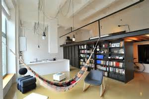 ideas for kitchen ceilings factory loft with an integrated hammock and a mezzanine