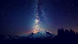 mountains, landscapes, nature, outer space, trees, night ...
