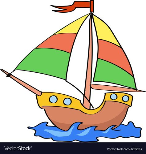 Boat Cartoon Images Free by Boat Cartoon Colorful On A White Background Vector Image