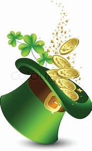 Celebratory background with a green hat and gold, St ...