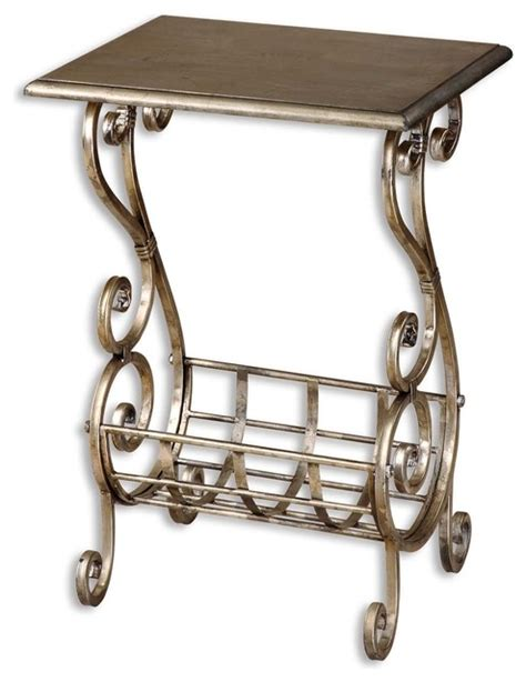 silver leaf end table silver leaf finish metal scroll magazine table