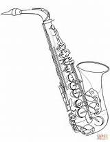 Coloring Saxophone Clarinet Printable Instruments Drawing Template Musical Paper Sketch Categories Supercoloring sketch template