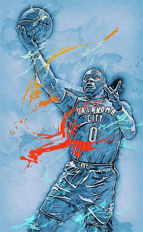 Russell Westbrook 08 Painting By Andrea Mazzocchetti